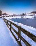 Fence and frozen pond in rural York County, Pennsylvania. Stock Photography