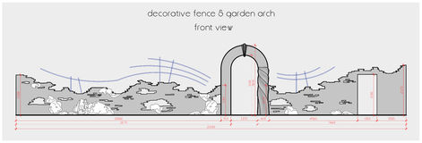 Fence with garden arch, layout drawing. Example of garden hedge arrangement. Two-dimensional drawing in one JPG file Royalty Free Stock Images