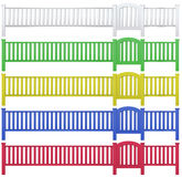 Fence and garden gate in five colors. Illustration Stock Photo