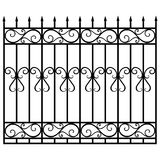 Fence gate. Vector illustration wrought iron modular railing and fence. Vintage gate with swirls. Black forged fence Royalty Free Stock Image