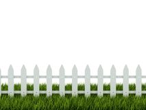 Fence on grass. White fence on green grass Royalty Free Stock Photo