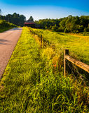 Fence and grasses along country road in Southern York County, Pe Stock Images