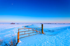 Fence on a grassland in winter Stock Photos