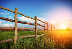 Fence in the green field under blue cloud sky Stock Photos