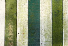 Fence with green and white painted wood Royalty Free Stock Images