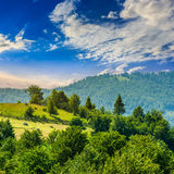 Fence on hillside meadow in mountain Royalty Free Stock Photos