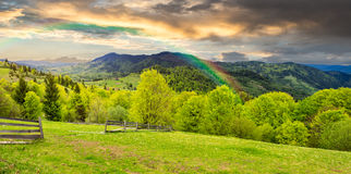 Fence on hillside meadow in mountain at sunrise Royalty Free Stock Photo
