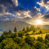 Fence on hillside meadow in mountain at sunset Royalty Free Stock Image