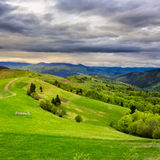 Fence on hillside meadow Stock Photography