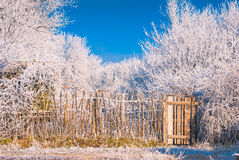 Fence in a hoar frost Stock Photo