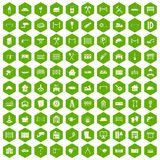100 fence icons hexagon green. 100 fence icons set in green hexagon isolated vector illustration Royalty Free Stock Photography