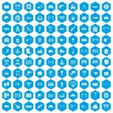 100 fence icons set blue. 100 fence icons set in blue hexagon isolated vector illustration Royalty Free Stock Images