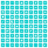 100 fence icons set grunge blue. 100 fence icons set in grunge style blue color isolated on white background vector illustration Royalty Free Stock Image