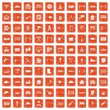 100 fence icons set grunge orange. 100 fence icons set in grunge style orange color isolated on white background vector illustration Stock Photo