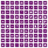 100 fence icons set grunge purple Stock Photography