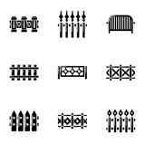 Fence icons set, simple style. Fence icons set. Simple set of 9 fence vector icons for web isolated on white background Stock Photos