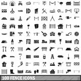 100 fence icons set, simple style. 100 fence icons set in simple style for any design vector illustration Royalty Free Stock Photos