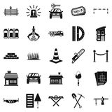 Fence icons set, simple style. Fence icons set. Simple set of 25 fence vector icons for web isolated on white background Royalty Free Stock Photography