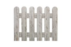 The fence isolated on a white background. Gray wooden fence isolated on white background.  royalty free stock photo