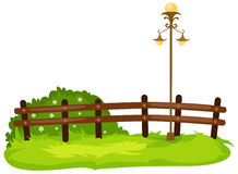 Fence with lamp. Illustration of isolated fence with lamp on white Stock Photography