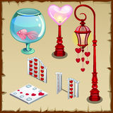 Fence, lantern and other items in heart shape. Fence, lantern, fish and other objects in the shape of a heart Stock Image