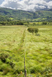Fence leading to green rocky mountains Royalty Free Stock Photo