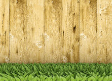Fence with leaves. A wooden wall with leaves in foreground Stock Photo