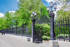 Fence of the Letny Garden in Kronstadt, Russia. Wrought iron fence of the Letny Summer Garden in Kronstadt, Russia Royalty Free Stock Photos