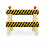 Fence light construction icon. Under construction, street traffic barrier. Black and yellow stripes with lights Royalty Free Stock Image