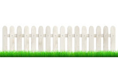Fence from light wood and grass - isolated on white background Royalty Free Stock Photography