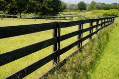 Fence line. A wooden fence separates one field from another Royalty Free Stock Image
