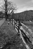 Fence Line a Country Lane on the Blue Ridge Parkway Royalty Free Stock Image