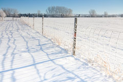 Fence Line Landscape in Snow Stock Photography