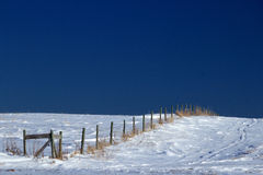 Fence line on snow covered ground Stock Photography
