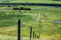 Fence line to the river. Glenbow Ranch Provincial Recreation Area Royalty Free Stock Photography
