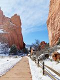 Fence lined walkway in Garden of the Gods in Colorado Springs Colorado stock photography