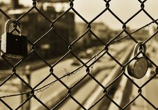 Fence with locks Royalty Free Stock Image