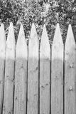 Fence of logs and leaves black and white Stock Photo