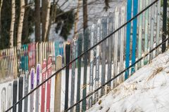 A fence made of skis Stock Photo