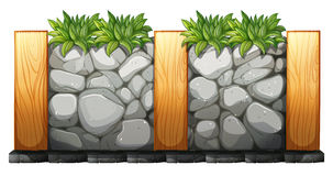 Fence made of rocks and wood royalty free illustration