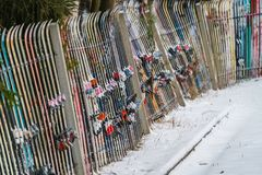 A fence made of skis Stock Photos