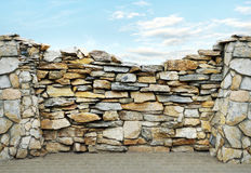 Fence made of stones Stock Photo