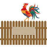 A fence made of wood. Notice boards and advertising. Rooster on the fence. Symbol Rooster 2017. illustration. A fence made of wood. Notice boards and advertising Royalty Free Stock Images