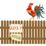 A fence made of wood. Rooster on the fence. Rooster symbol 2017 illustration. A fence made of wood. Rooster on the fence. Rooster symbol 2017. Vector Royalty Free Stock Photo