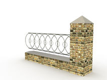 A fence made of wood and stone №1 Royalty Free Stock Photo