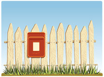 Fence with a mail box Royalty Free Stock Images