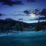 Fence on meadow near forest at night Royalty Free Stock Photography