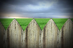 Fence meadow and sky Royalty Free Stock Photography