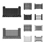 A fence of metal and bricks,wooden palisade. A different fence set collection icons in black,monochrom style vector. Symbol stock illustration royalty free stock photo