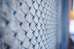 Fence with metal grid in perspective Stock Photography